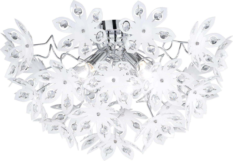 Reality Leuchten Deckenlampe chrom, Acrylblüten wei mit klaren Steinen, Durchmesser  55 cm Hhe  30 cm, 3 x E14 maximal 40W, ohne LM R61903001