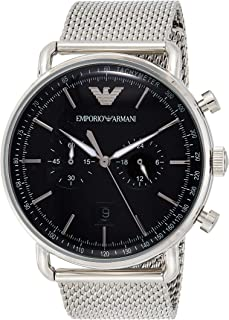 Emporio Armani Men's Dress Quartz Watch with Stainless-Steel Strap, Silver, 22 (Model: AR11104)