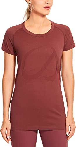 CRZ YOGA Seamless Workout Shirts for Women Short Sleeve Plain Tees Quick Dry Gym Athletic Tops