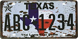 6x12 Inches Vintage Feel Rustic Home,bathroom and Bar Wall Decor Car Vehicle License Plate Souvenir Metal Tin Sign Plaque (TEXAS THE LONE STAR STATE)