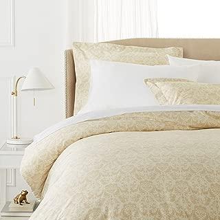 Pinzon Paris Printed Egyptian Cotton Sateen Duvet Set - King, Eggshell