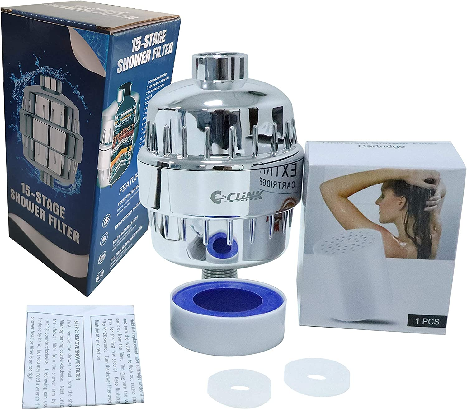 C CLINK 15 Stages Shower Water Filter Silver with Popular product surface layer Fort Worth Mall