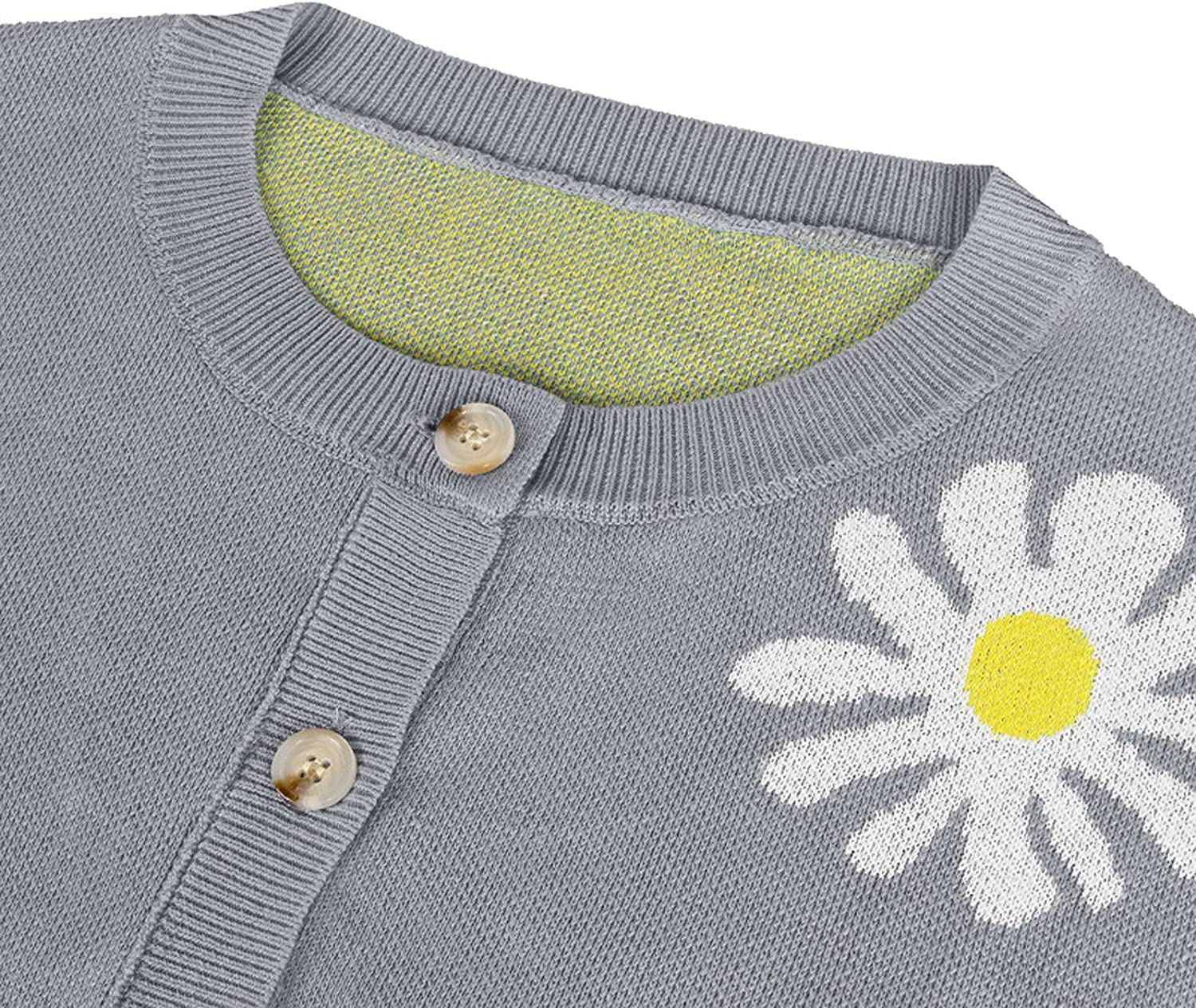 Women's Daisy Print Knitted Cardigan Fashion Long Sleeve Button Sweater Coat Autumn Casual Crewneck Loose Shirts