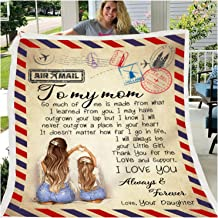 Personalized Letter Cover, Custom Throw Blanket Retro Stamp Air Mail to Mother and Wife Non-Woven Blanket for Couch Sofa B...