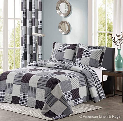 All American Collection Black and Grey Modern Plaid Bedspread and Pillow Sham Set | Matching Curtains Available! (Twi...