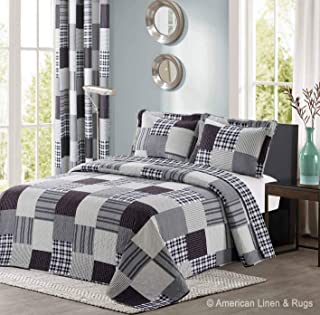 All American Collection Black and Grey Modern Plaid Bedspread and Pillow Sham Set | Matching Curtains Available! (King/Cal King Size)
