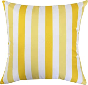 "Homey COZY Outdoor Throw Pillow Cover, Classic Striped (20""x20"", Yellow)"