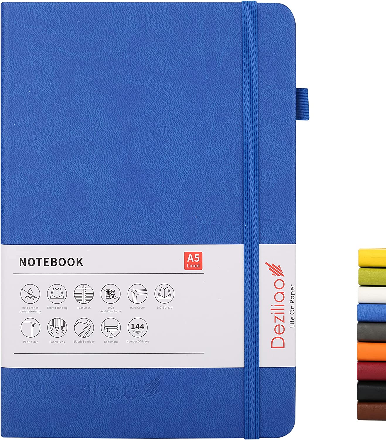 Deziliao Lined Journal Notebooks with Loop Safety and trust Pen Hardcover Mesa Mall Notebo