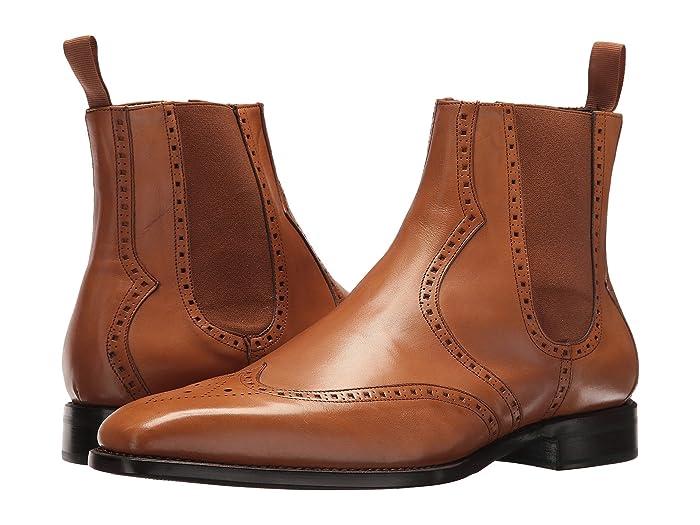 CARLOS by Carlos Santana  1947 Chelsea Boot (Tan Full Grain Box Calf) Mens Dress Zip Boots