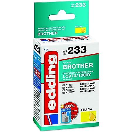 Edding 18 233 Druckerpatrone Edd 233 Ersetzt Brother Lc970y Lc1000y Einzelpatrone Gelb Bürobedarf Schreibwaren