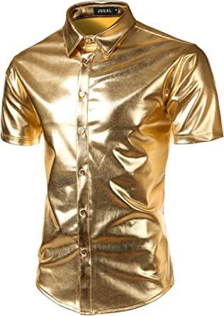 JOGAL Mens Metallic Shiny Nightclub Styles Short Sleeves Button Down Dress Shirts