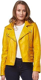 Carrie CH Hoxton Chaqueta de Cuero Real para Mujer 100% de Piel de Cordero Moda clásica Biker Style 7113