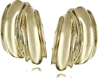 Gold Tone Button Clip-on Earrings