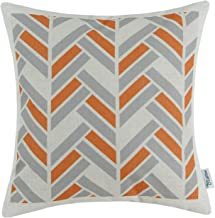 CaliTime Canvas Throw Pillow Cover Case for Couch Sofa Home Decoration Modern Striped Chevron Zigzag Geometric 18 X 18 Inches Grey Orange
