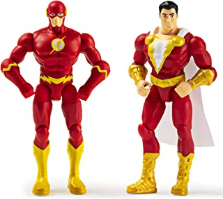 DC Comics, 4-Inch THE FLASH and SHAZAM Action Figure 2-Pack with 6 Mystery Accessories, Adventure 1