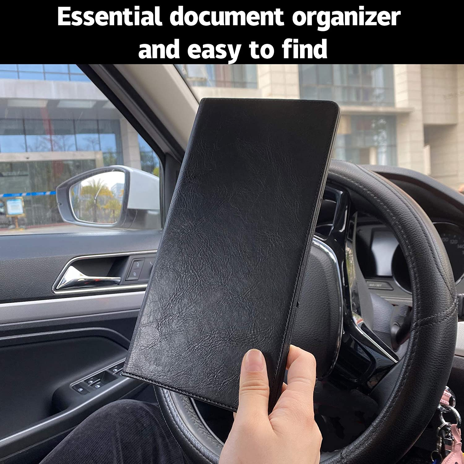MICUB Auto Car Registration and Insurance Documents Holder - PU Leather Vehicle Glove Box Documents Organizer Wallet,Case Holder for Essential Automobile Documents
