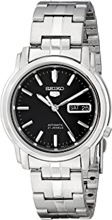Men's SNKK71 Seiko 5 Automatic Stainless Steel Watch with Black Dial