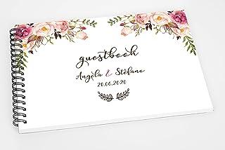 Guestbook matrimonio - libro dediche e auguri invitati personalizzato fiori boho chic