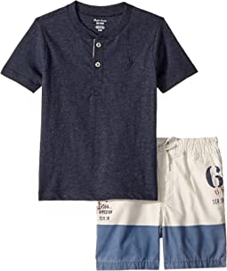 Jersey Henley & Poplin Shorts Set (Infant)