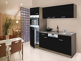 respekta Einbau Single Küche Küchenblock Küchenzeile 205 cm Eiche York schwarz Ceran