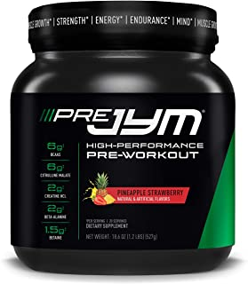 Pre JYM Pre Workout Powder - BCAAs, Creatine HCI, Citrulline Malate, Beta-Alanine, Betaine, and More | JYM Supplement Science | Pineapple Strawberry Flavor, 20 Servings