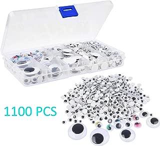 Kare & Kind 1100 ojos saltones de varios tamaños - 5 mm a 25 mm - negro / verde / rojo / rosa / azul / amarillo - para bricolaje, arte, proyectos de manualidades, decoraciones, juguetes