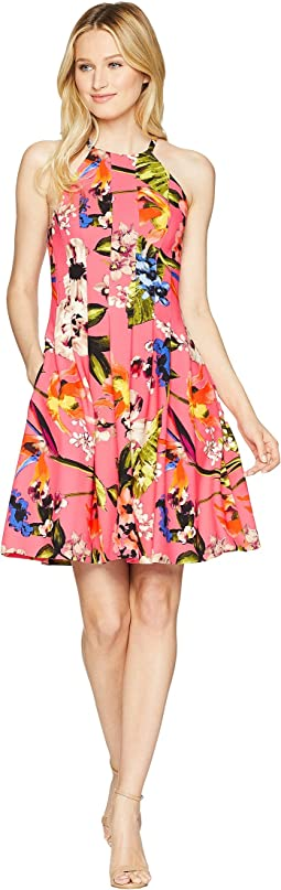 Printed Halter Fit and Flare Dress