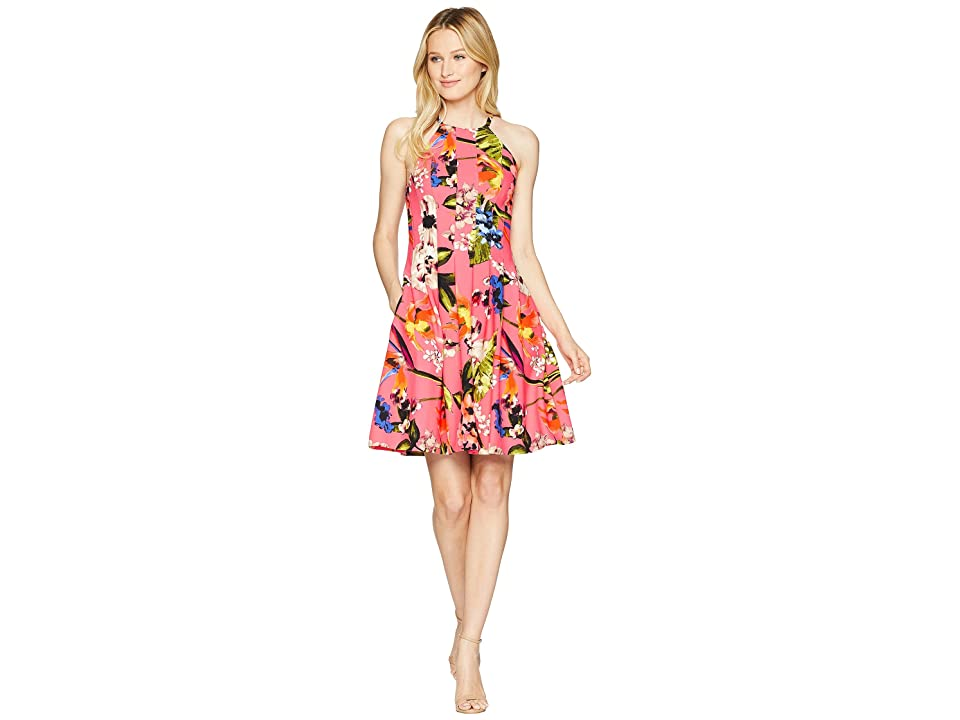 Vince Camuto Printed Halter Fit and Flare Dress (Pink Multi) Women's Dress