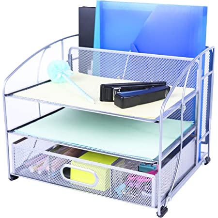 Exerz Mesh Desk Organiser Office Supplies 3 Trays/Desktop File Holder with Sliding Drawer and Hanging File Holder/Paper sorters/Vertical Upright Section for Office Home Multifunctional (Silver New)