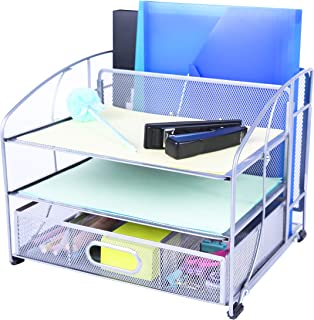 $21 » Exerz Mesh Desk Organizer Office Supplies 3 Trays/Desktop File Holder with Sliding Drawer and Hanging File Holder/Vertical Upright Section for Office Home Multifuntional - Silver