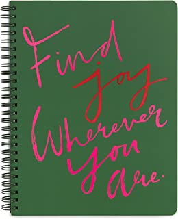 """Ban.do Green Rough Draft Mini Spiral Notebook with Saying, 9"""" x 7"""" with Pockets and 160 Lined Pages, Find Joy"""