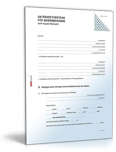 Untermietvertrag Gewerberäume (PDF) [Download]