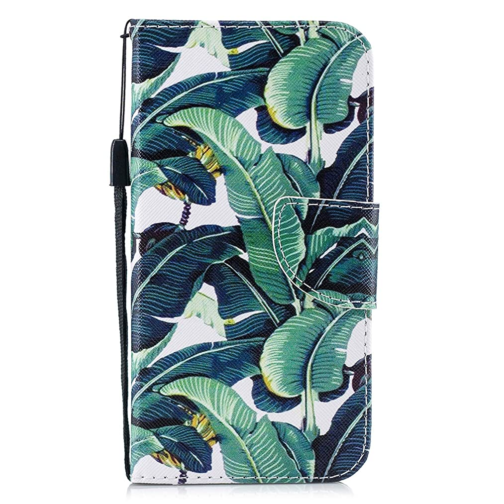 Cfrau Leather Case with Black Stylus for iPhone XR,Cute Design Magnetic Wallet Flip PU Leather Card Slots Kickstand Hand Strap with Soft TPU Case for iPhone XR 6.1 inch - Banana Leaf
