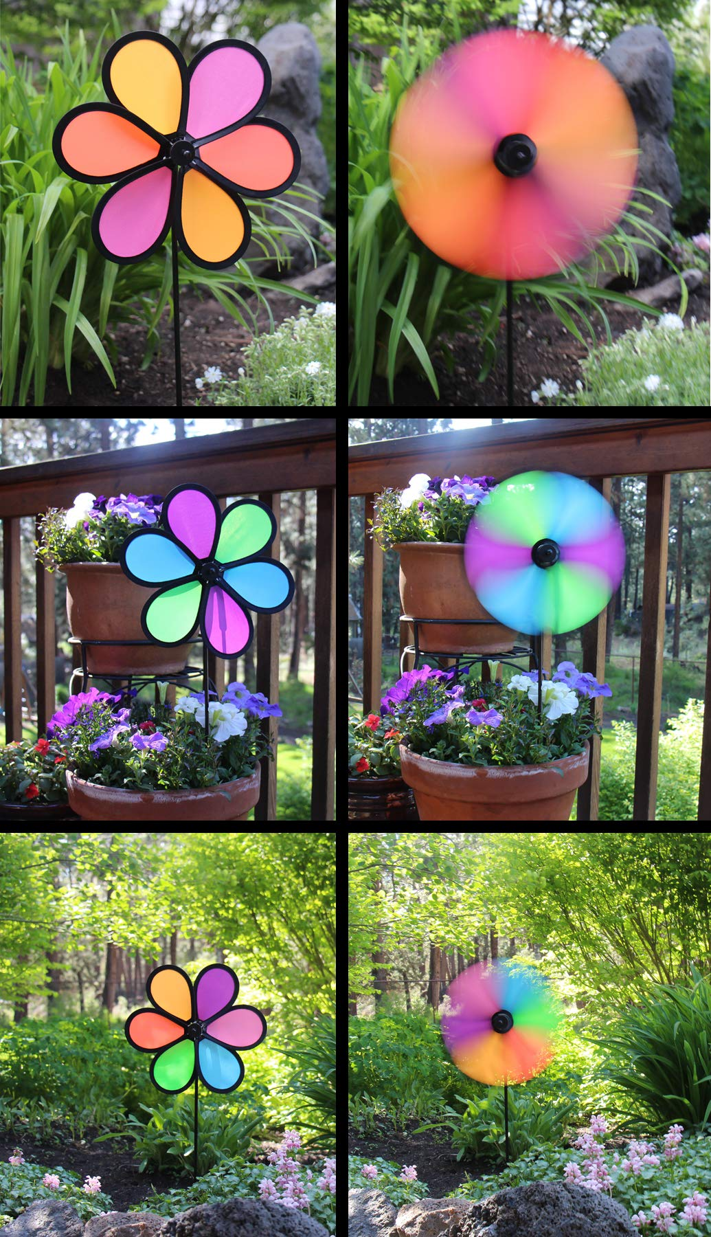 En la brisa 10 Inch neón flores Spinner – 3 Pack – colores viento ...