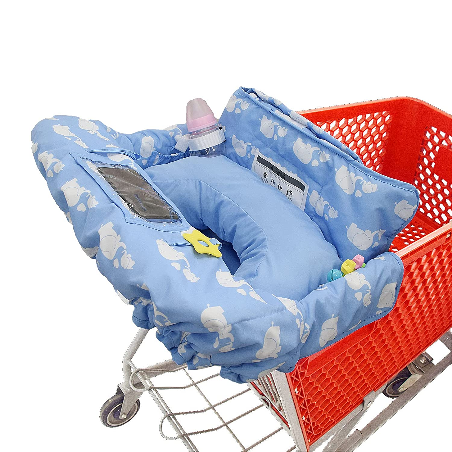 Shopping Cart Cover for Baby or Toddler with Soft Pillow/2-in-1 High Chair Cover/Fits Restaurant Highchair|Blue Elephant