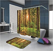 Epinki Polyester Shower Curtain Decorative Bathroom Accessories Green Forest and Sunrise Bathroom Curtain with 12 Hooks Si...