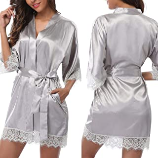 Ladies Women's Lace Sleepwear Robe Middle Lace Sleece Bathrobe Sexy Lingerie Night Gown Thongs