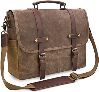 Mens Messenger Bag 15.6 Inch Waterproof Vintage Genuine Leather Waxed Canvas Briefcase..