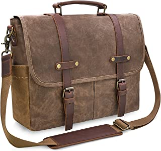 Mens Messenger Bag 15.6 Inch Waterproof Vintage Genuine Leather Waxed Canvas Briefcase Large Satchel Shoulder Bag Rugged L...