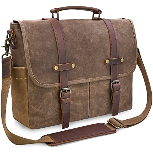 Mens Messenger Bag 15.6 Inch Waterproof Vintage Genuine Leather Waxed  Canvas Briefcase Large Satchel Shoulder Bag 0df5a0c35d91