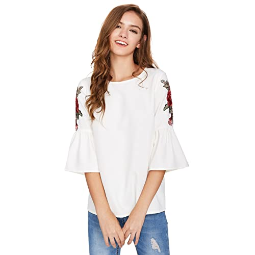 bf8ece44f40ce9 Floerns Women s Floral Embroidery Loose Blouse Bell Sleeve Top