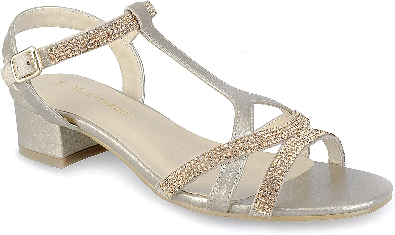 MaxMuXun Women shoes Bling Bling Chunky T Strap Dress Sandals