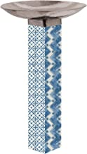 Studio M Windjammer Blue Pattern Bird Bath Art Pole Hand-Hammered Stainless Steel Top, Hardware Included for Easy Installation, Printed in USA, 31 Inches Tall with 18 Inch Dia. Bowl