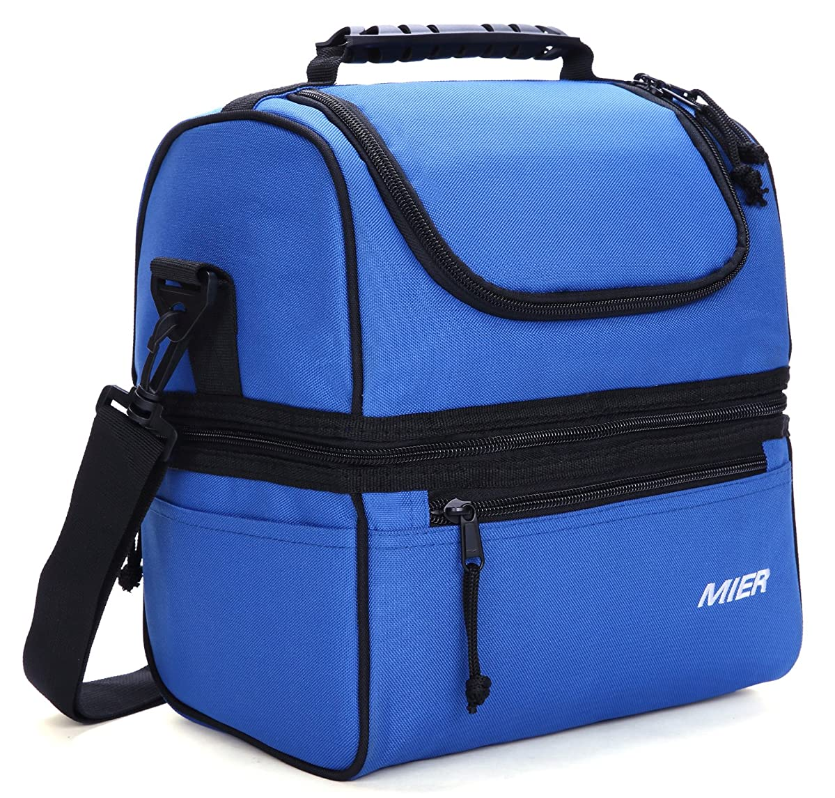 MIER Adult Lunch Box Insulated Lunch Bag Large Cooler Tote Bag for Men, Women, Double Deck Cooler(Navy Blue)