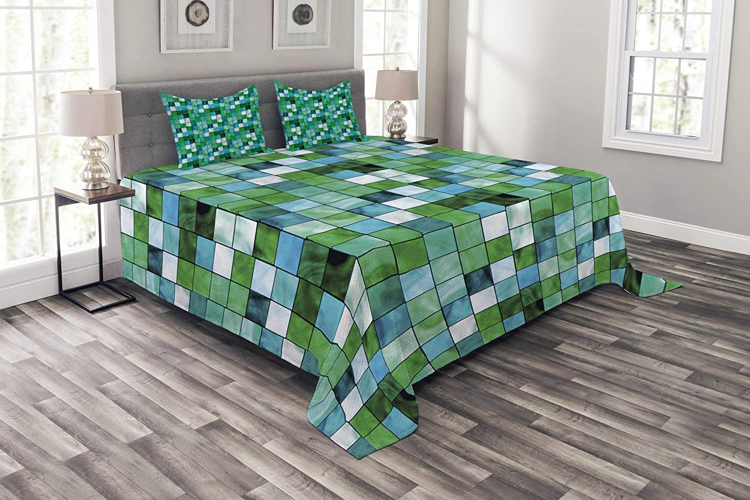 Lunarable Emerald Bedspread Set Queen Size, Geometric Mosaic Squares with Soft Aquatic color Scheme Checkered Tile Pattern, Decorative Quilted 3 Piece Coverlet Set with 2 Pillow Shams, bluee Sea Green
