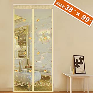 """Spritech [Embroider Flower Style Screen Door,Magnetic Mosquito Screen Mesh 38 X 99 Fit Doors Size Up to 36""""W X 98""""H Max with Full Frame Patio Screen Back Entry Door Curtain Keep Fly Bug Out"""