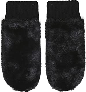 Rino and Pelle Women's Oxo Faux Fur Knit Mittens Black
