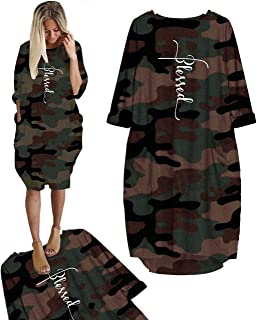 Embroidered Faith Cross Camouflage Dresses for Women