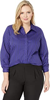 Foxcroft Plus Size Womens Vera Non Iron Stripe Tunic