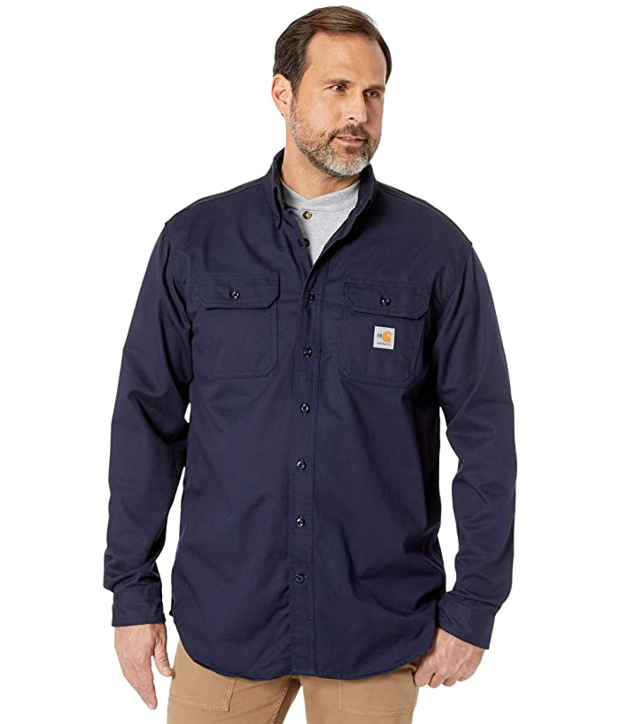 Carhartt  Flame-Resistant (FR) Classic Twill Shirt (Dark Navy) Mens Short Sleeve Button Up